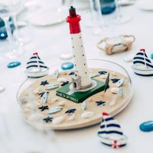 décoration phare thème mer bateau table cap ferret